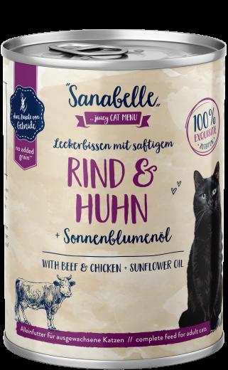 Sanabelle Leckerbissen mit saftigem Rind & Huhn 400 g