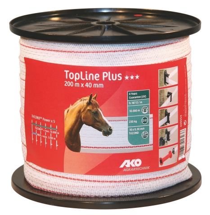 TopLine plus Weidezaunband weiß-rot 200 m / 40 mm