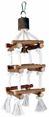 Turm mit Tauen, Naturholz, mit Glocke