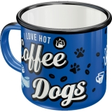 Emaille Becher - Hot Coffee & Cool Dogs